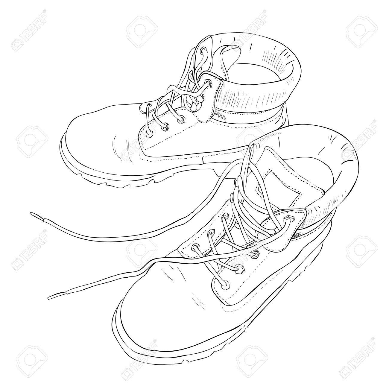 1300x1300 Hand Drawn Sketch With Army Boots. Vector Illustration Royalty