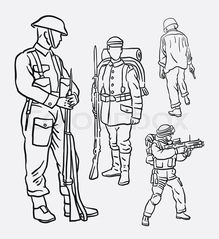 733x800 Army Soldier Pose Action Hand Drawing. Good Use For Symbol, Mascot