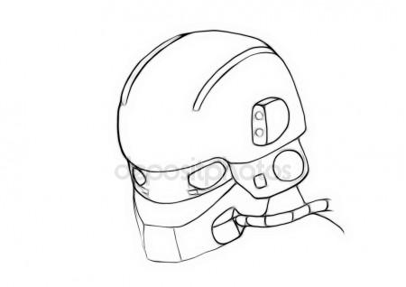 450x318 Illustration Sketch Of Conceptual Gas Masked Army Helmet Stock