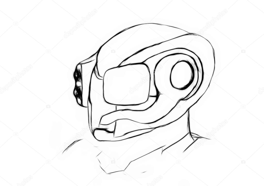 1023x723 Illustration Sketch Of Conceptual Recon Army Helmet Stock Photo