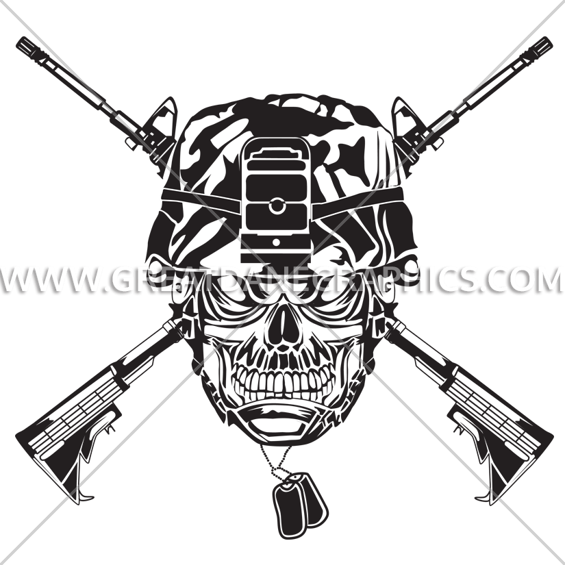 825x825 Skull Army Helmet Production Ready Artwork For T Shirt Printing