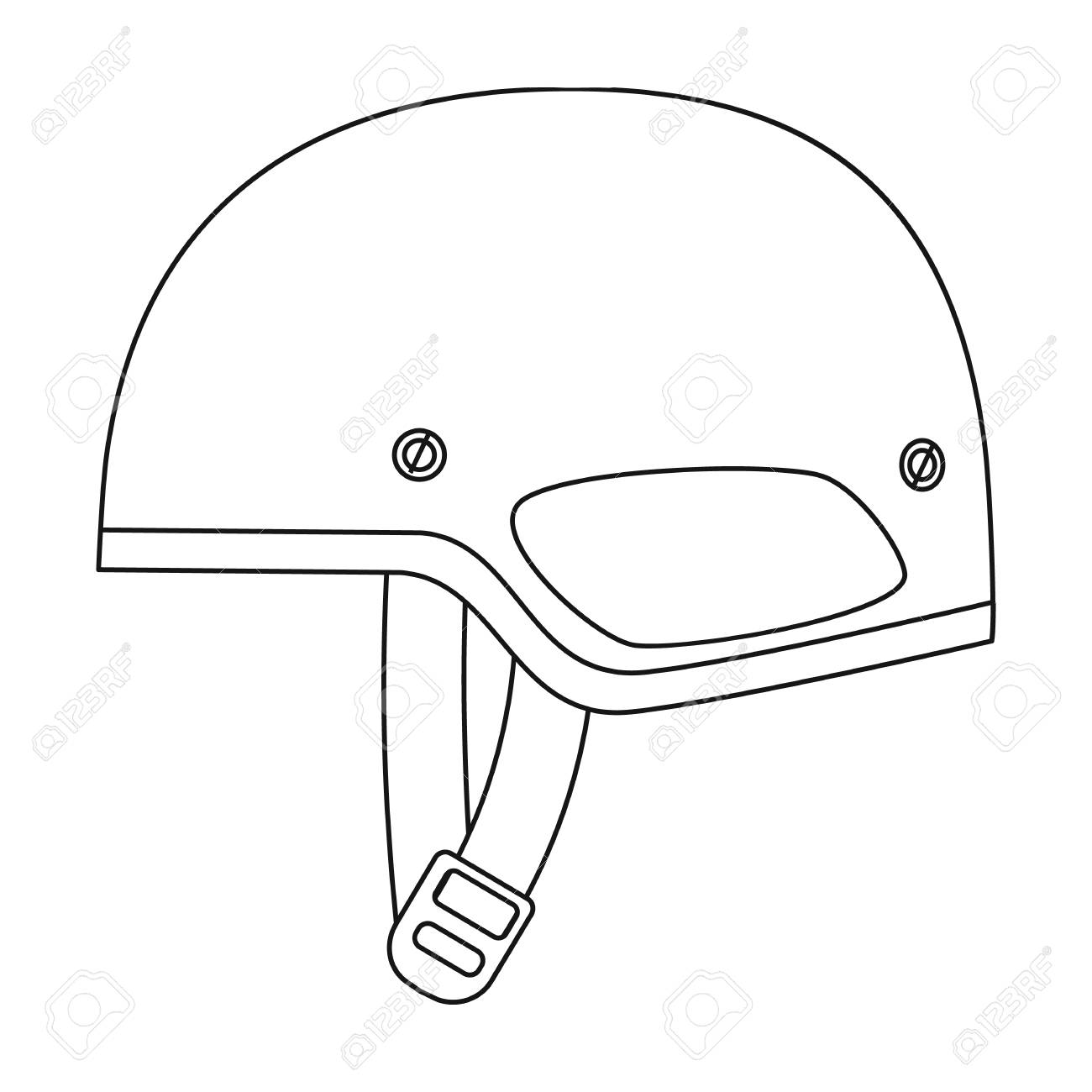 1300x1300 Army Helmet Icon In Outline Style Isolated On White Background
