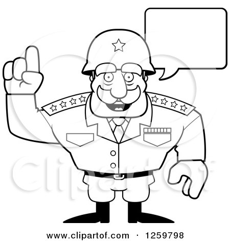 450x470 Clipart Of A Black And White Army General Man Talking Lineart