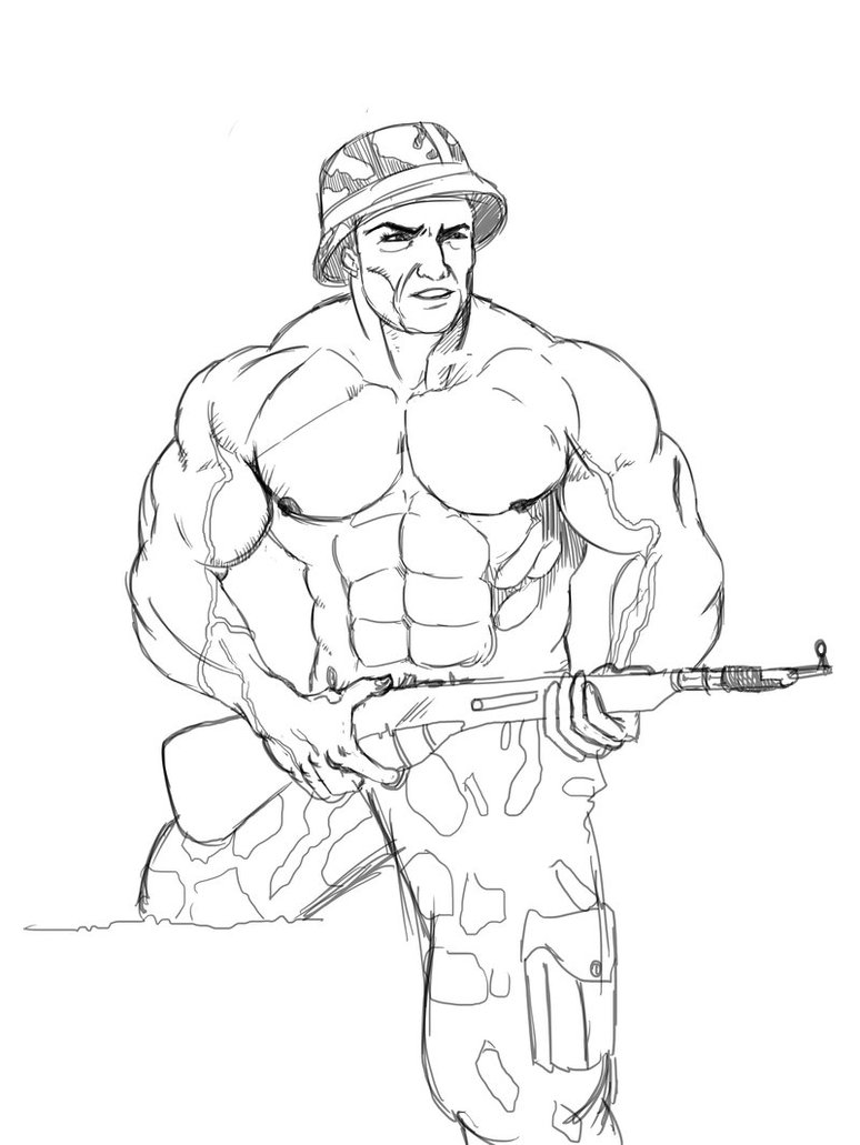 774x1031 Muscular Soldier By Pramodace