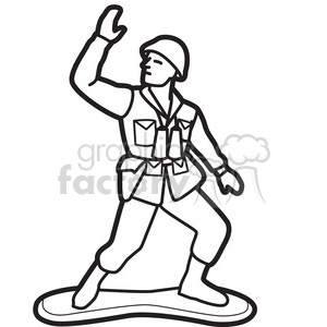 300x300 Royalty Free Black White Toy Army Soldier Illustration Graphic