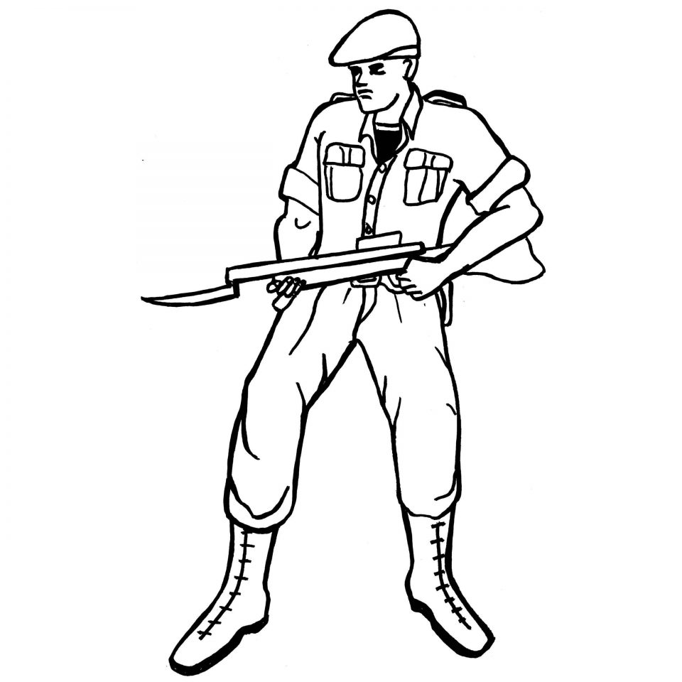 960x960 Military Army Soldier With Bayonet Colouring Sheet To Print For Boy