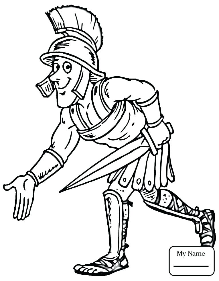 765x980 Roman Soldier Coloring Page Cartoon Drawing Of Ancient Soldier