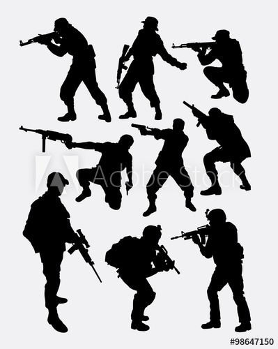 399x500 Army Soldier Pose With Gun Weapon Silhouette. Good Use For Symbol