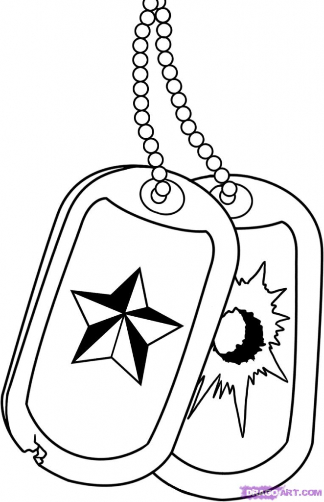 662x1024 Cartoon Army Drawings How To Draw Military Dog Tags, Stepstep