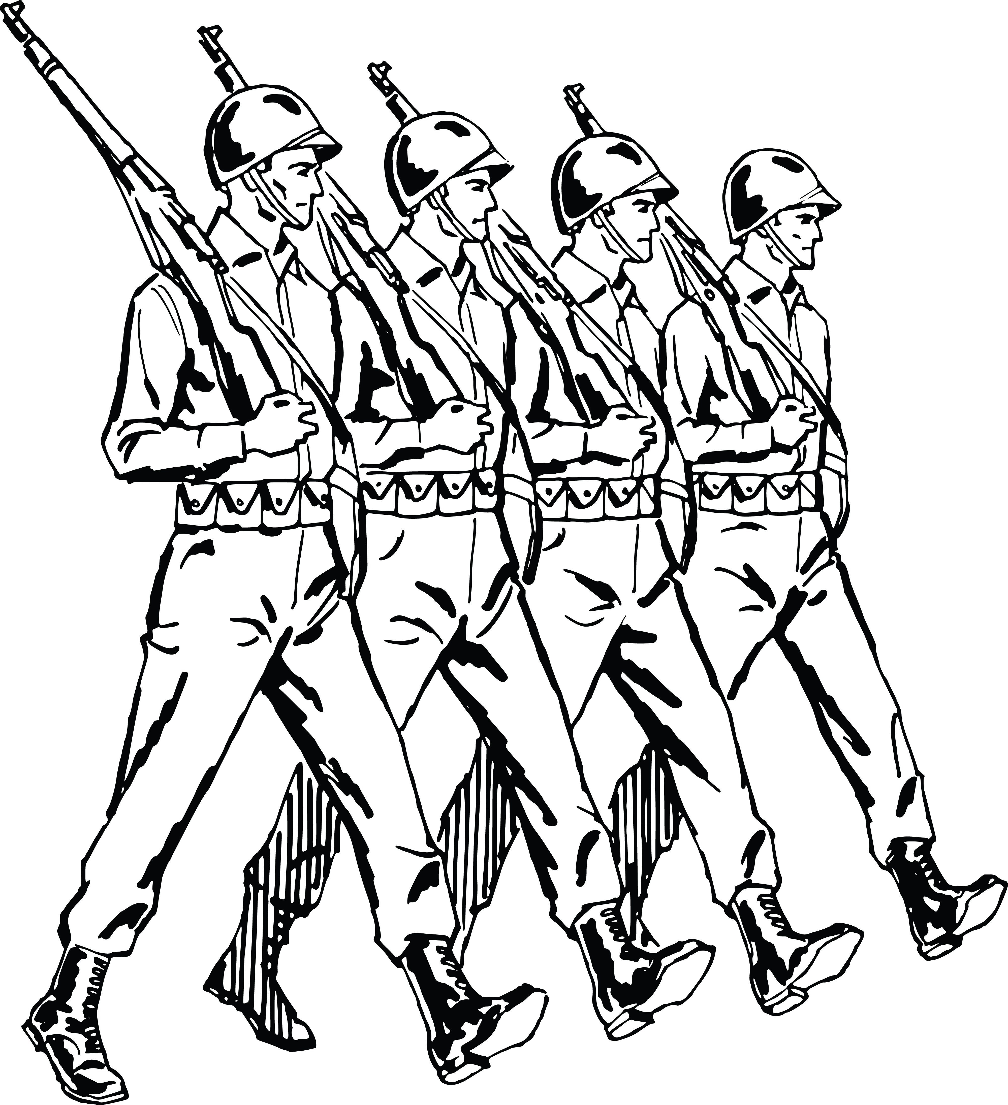 4000x4386 Clipart Of A Group Of Marching Army Soldiers