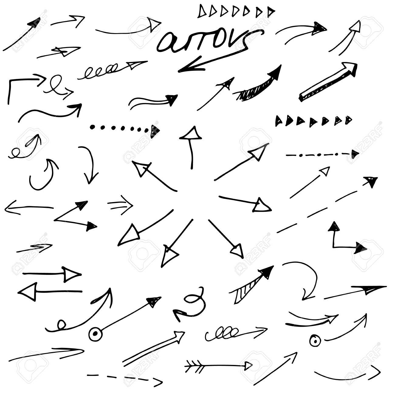 1300x1300 Hand Draw Pen Arrow. Sketch Design Concept Arrow.set Arrow