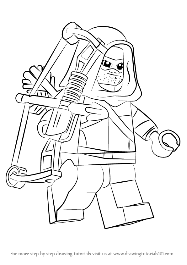 596x843 Learn How To Draw Lego Green Arrow (Lego) Step By Step Drawing