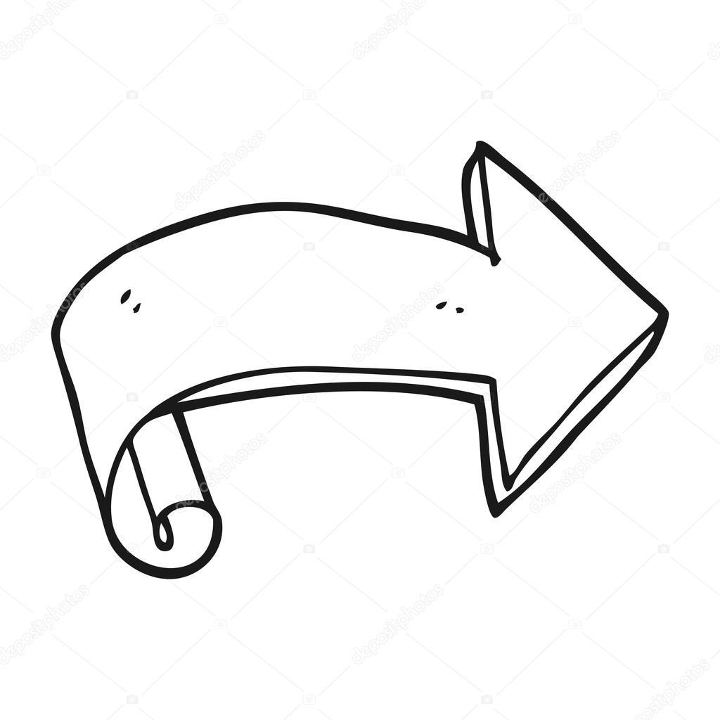 1024x1024 Black And White Cartoon Arrow Stock Vector Lineartestpilot