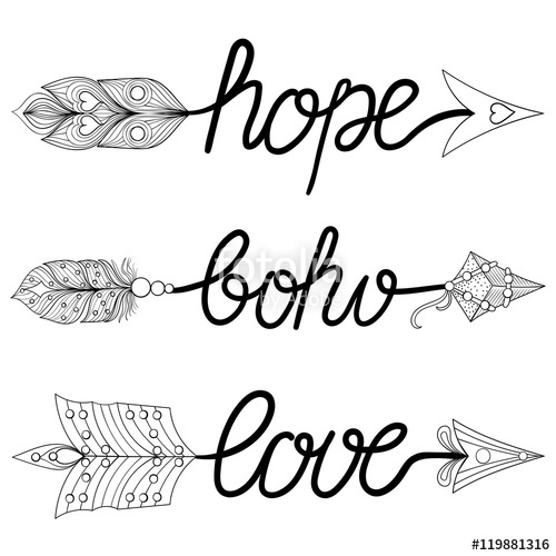 500x500 Boho, Love, Hope Arrows. Hand Drawn Signs With Feathers. Decorat