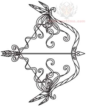 300x370 Arrow And Bow Tattoo Design
