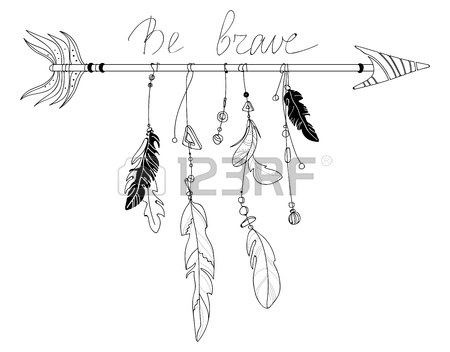 450x352 Vector Illustration Of An Arrow With Feathers. Indian Stylized