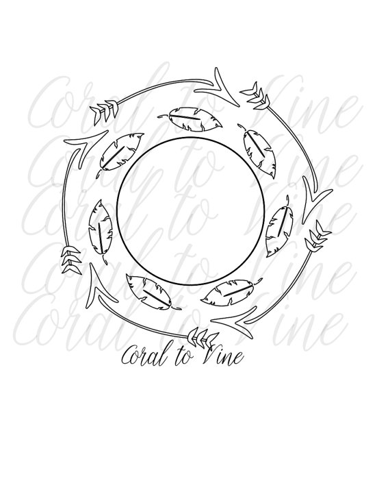 570x699 Monogram Arrow Svg Arrow Circle Svg Arrow Feather Svg