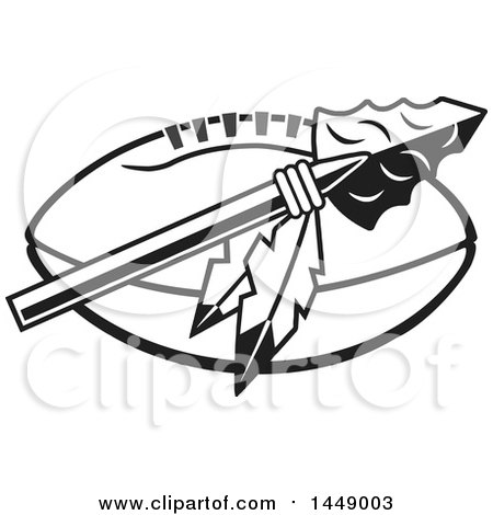 450x470 Clipart Of A Blackd White Arrowhead With Feathers Over