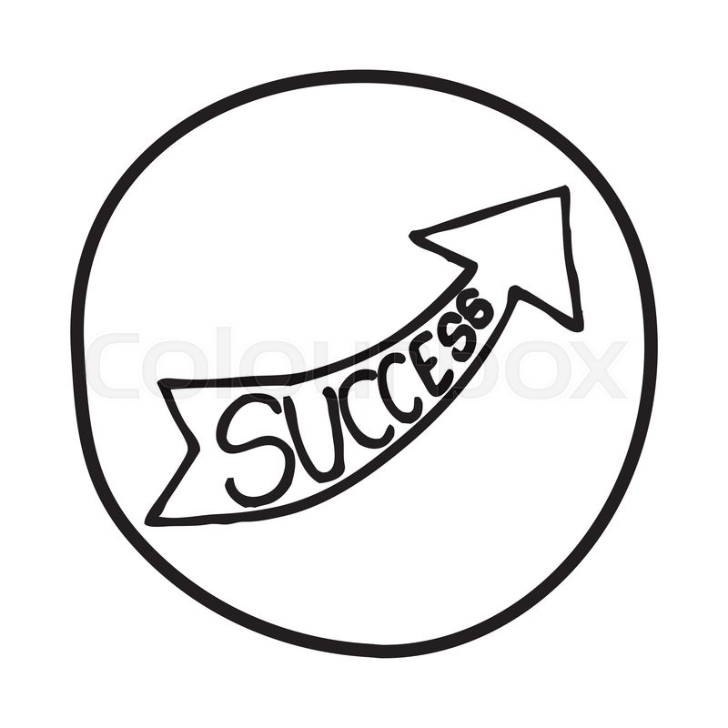800x800 Doodlerrow Icon With The Word Success. Infographic Symbol In