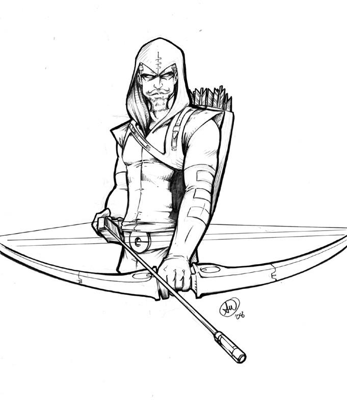 681x800 Green Arrow Torso Sketch By Adamwithers