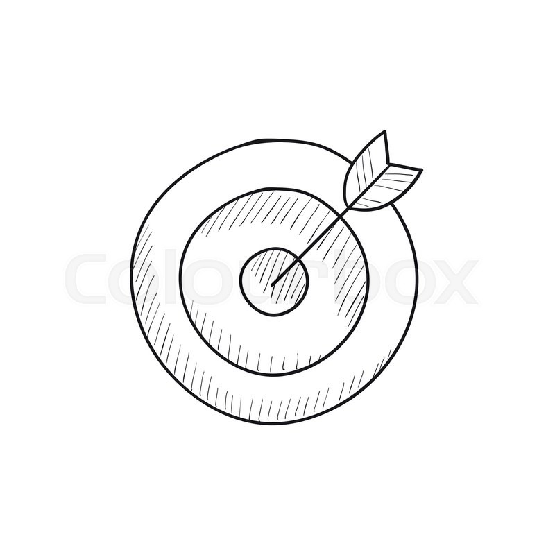 800x800 Target Board And Arrow Vector Sketch Icon Isolated On Background