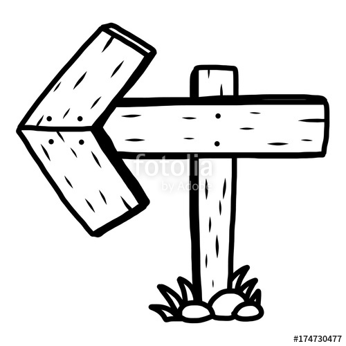 500x500 Arrow Road Sign Cartoon Vector And Illustration, Black And White