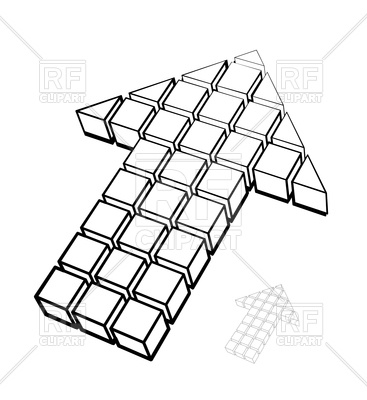 367x400 Arrow Icon Made Of Drawing Cubes Royalty Free Vector Clip Art