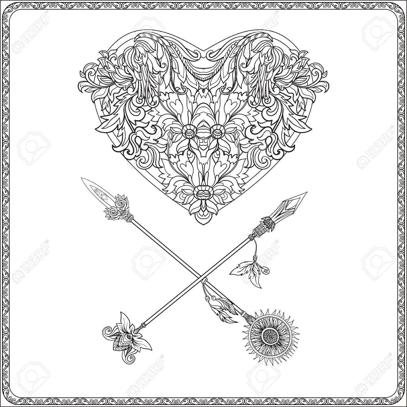 1300x1300 Decorative Love Heart With Decorative Arrows In Rococo, Victorian