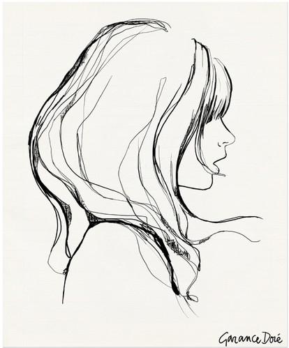 414x499 Art,black And White,drawing,face,fashion,garance Dore,sketch,pen