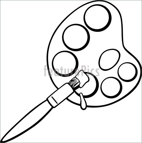 496x500 Artistic Tools Brush And Palette Clip Art Coloring Page
