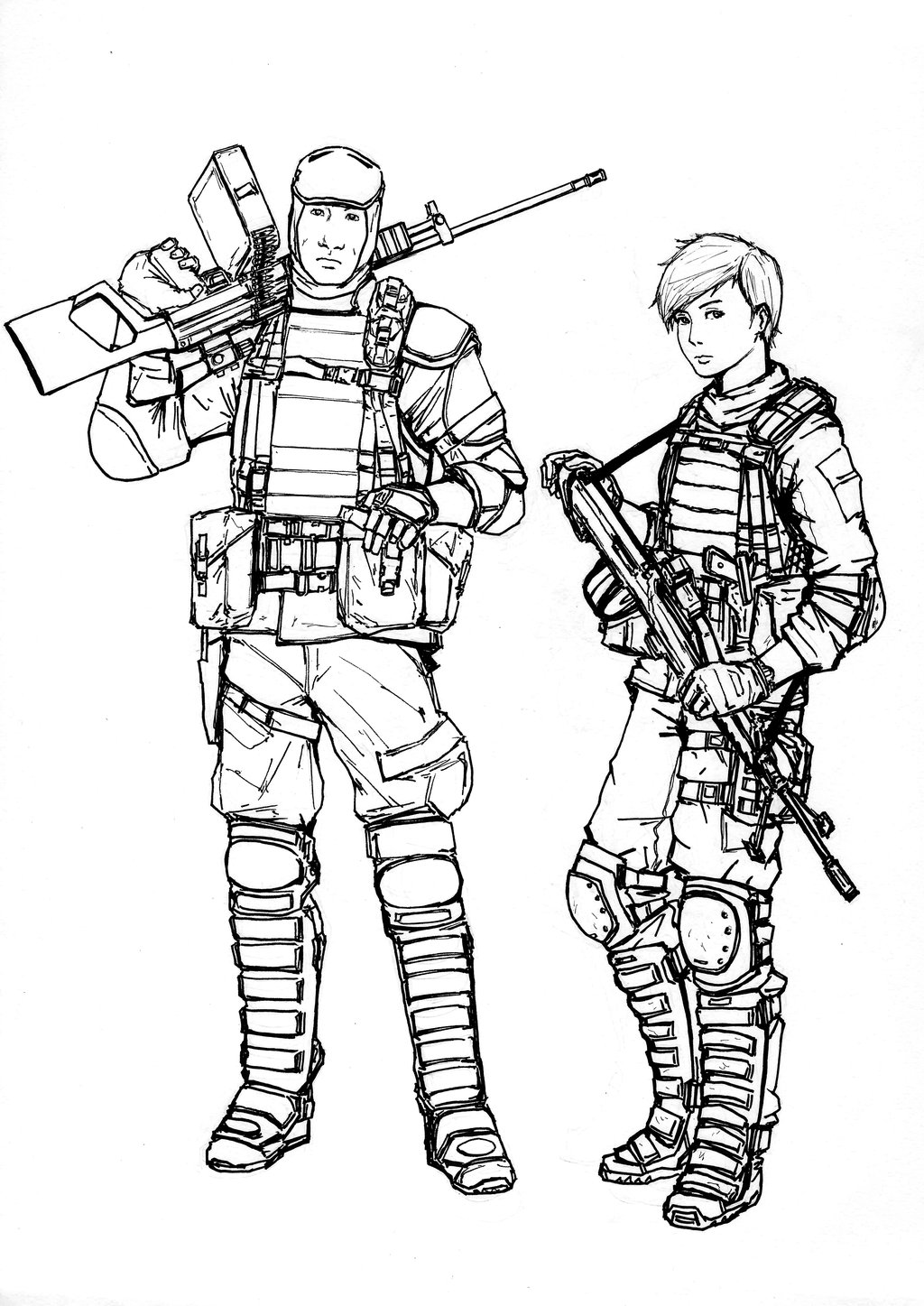 1024x1447 Bf4 Pla Support Class (Line Art) By Thomchen114