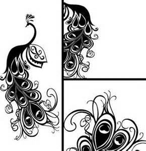 290x300 Black Amp White Art Deco Peacock Drawings