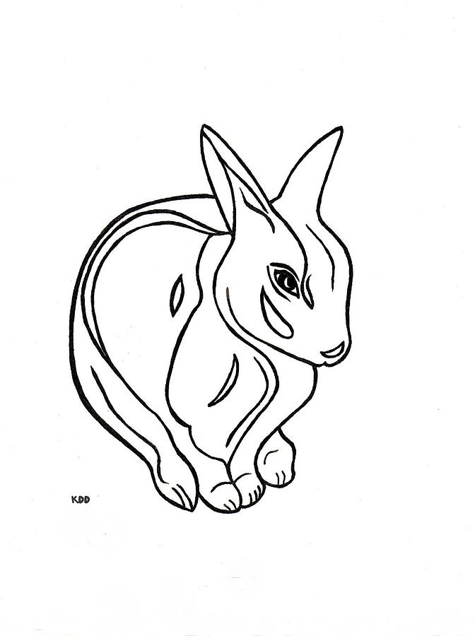672x900 Art Deco Bunny Drawing By Michael Dohnalek