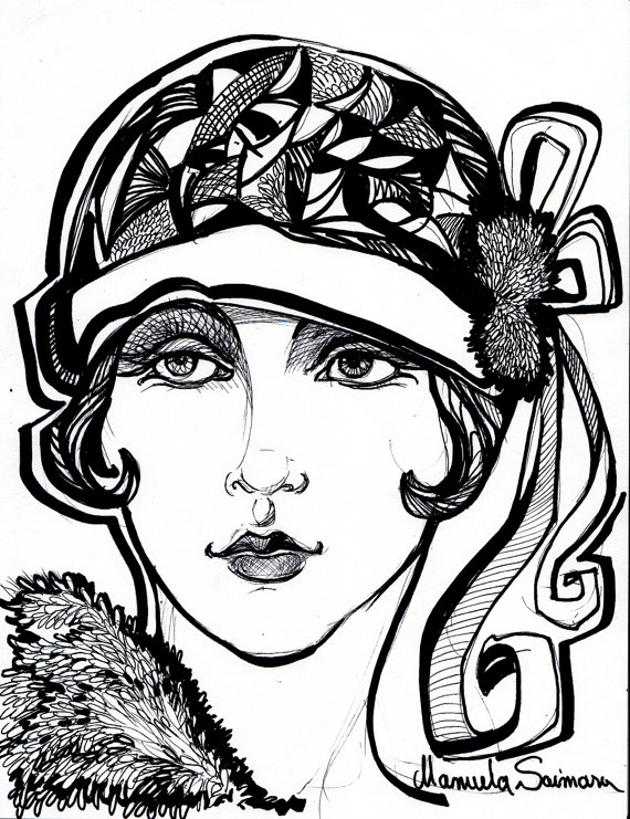 570x741 Flapper Girl Art Deco Print Downton Abbey By Artfashiondesign My