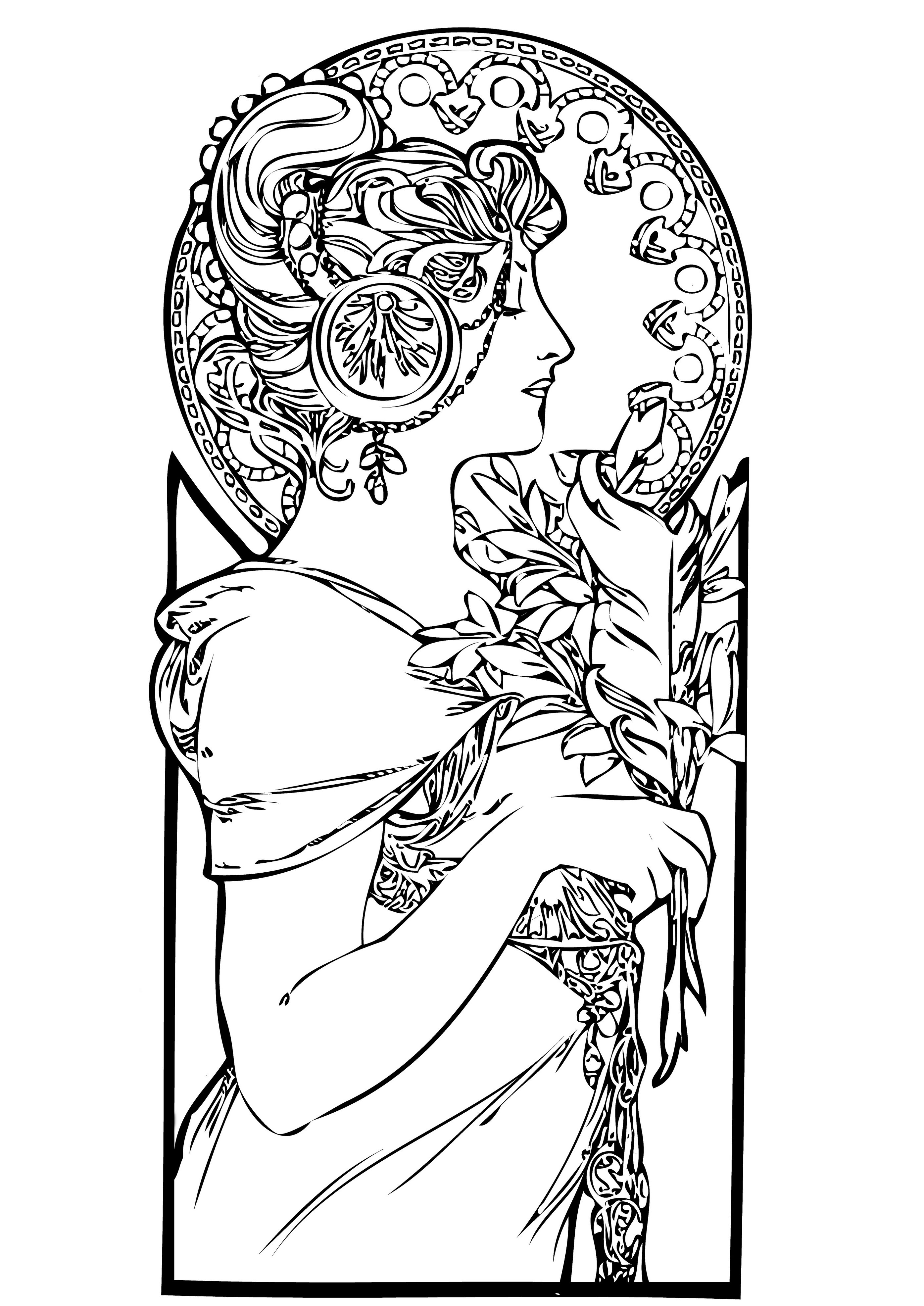 2791x3945 Free Coloring Page Coloring Adult Femme Art Nouveau. A Beautiful