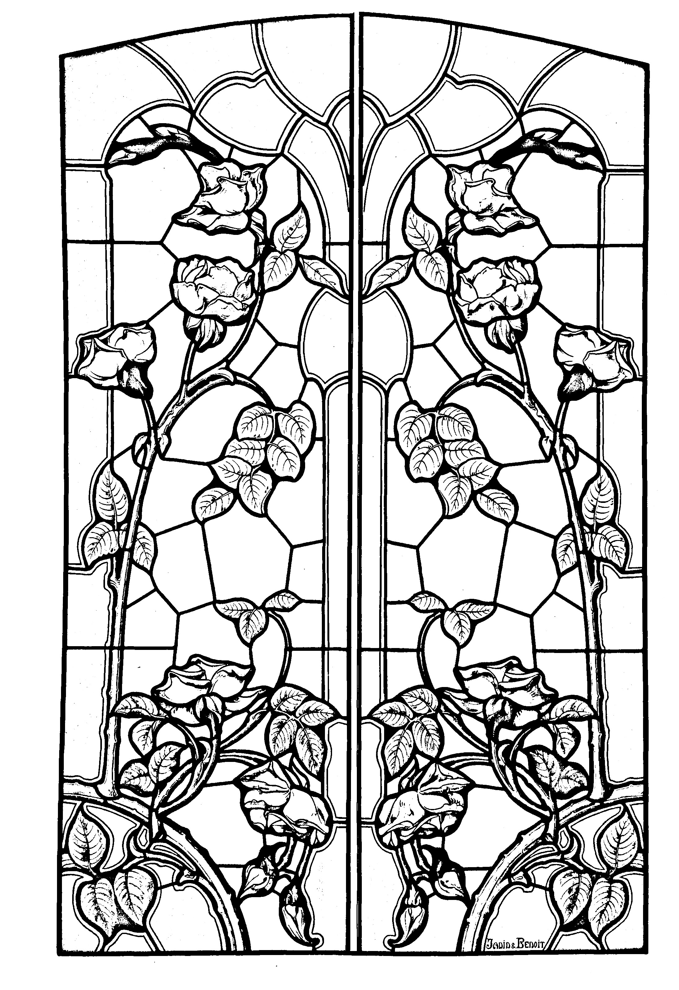 2192x3199 Free Coloring Page Coloring Stained Glass Drawing Art Nouveau