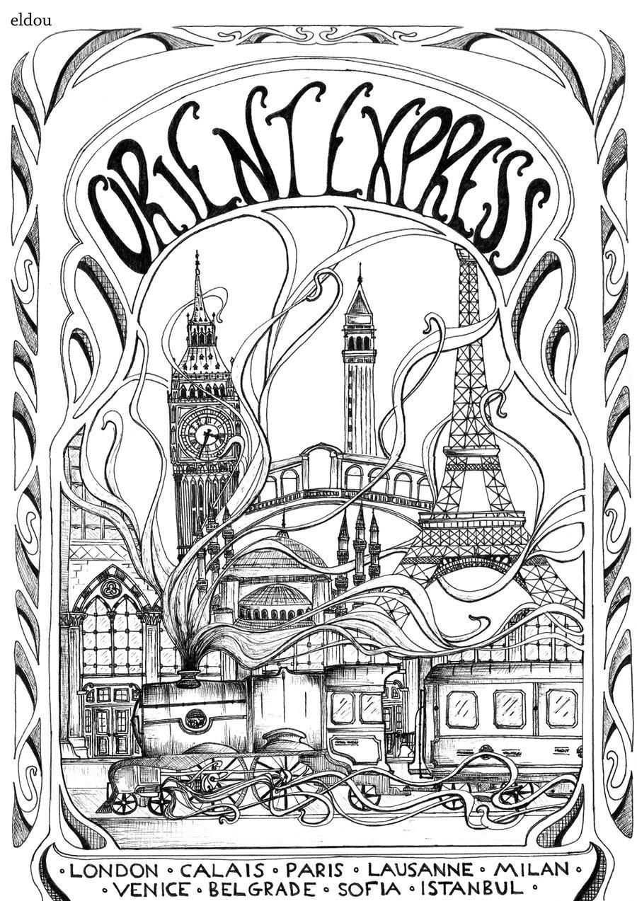 900x1273 Orient Express Art Nouveau Poster By Eldou