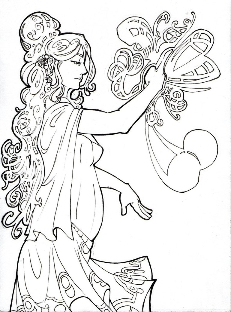 770x1038 Art Nouveau Selene By Medi94 On Color Me Happy