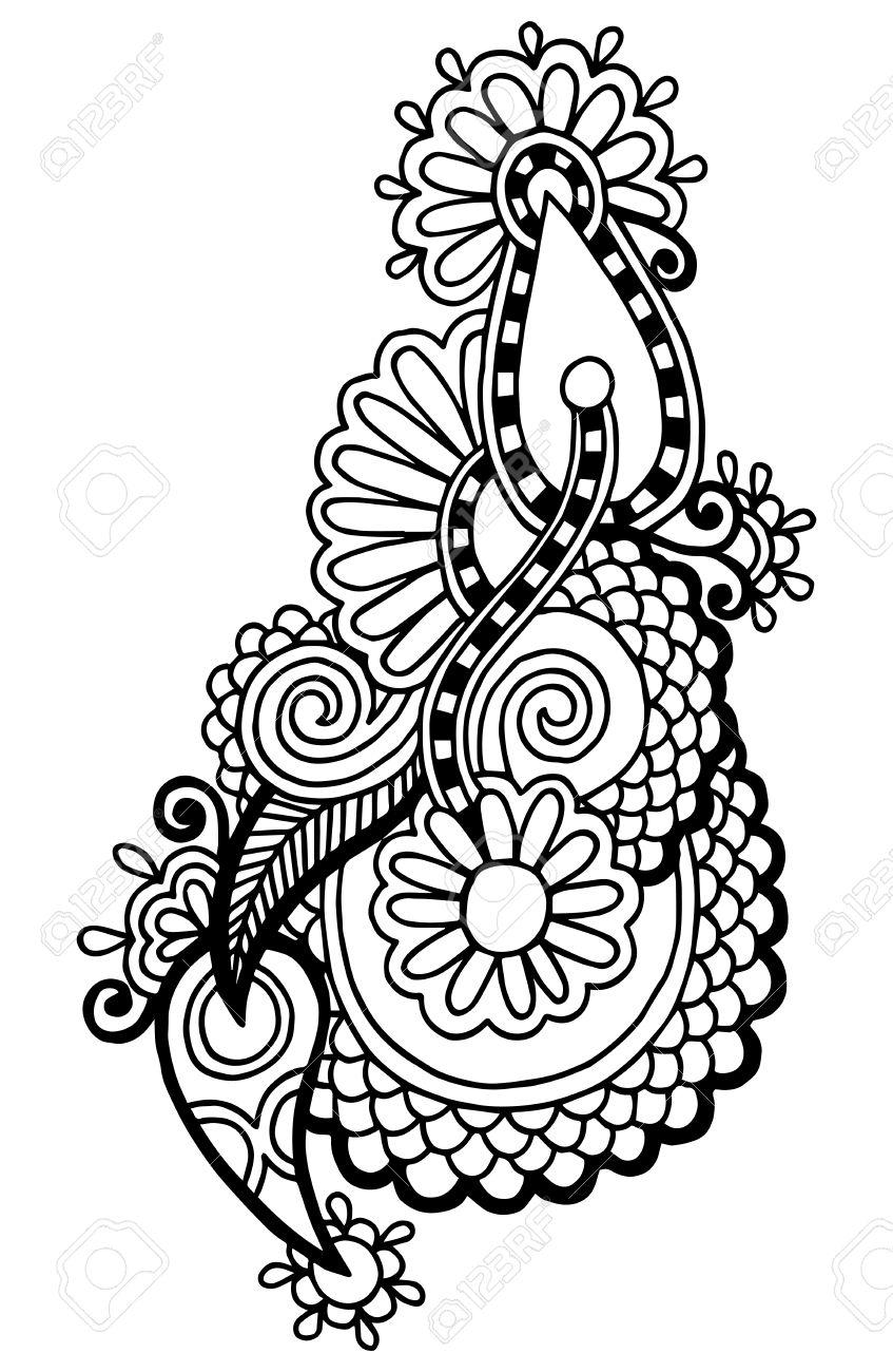 847x1300 Black Line Art Ornate Flower Design, Ukrainian Ethnic Style