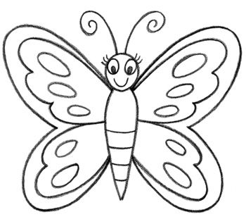 350x311 Learn How To Draw A Butterfly For Kids