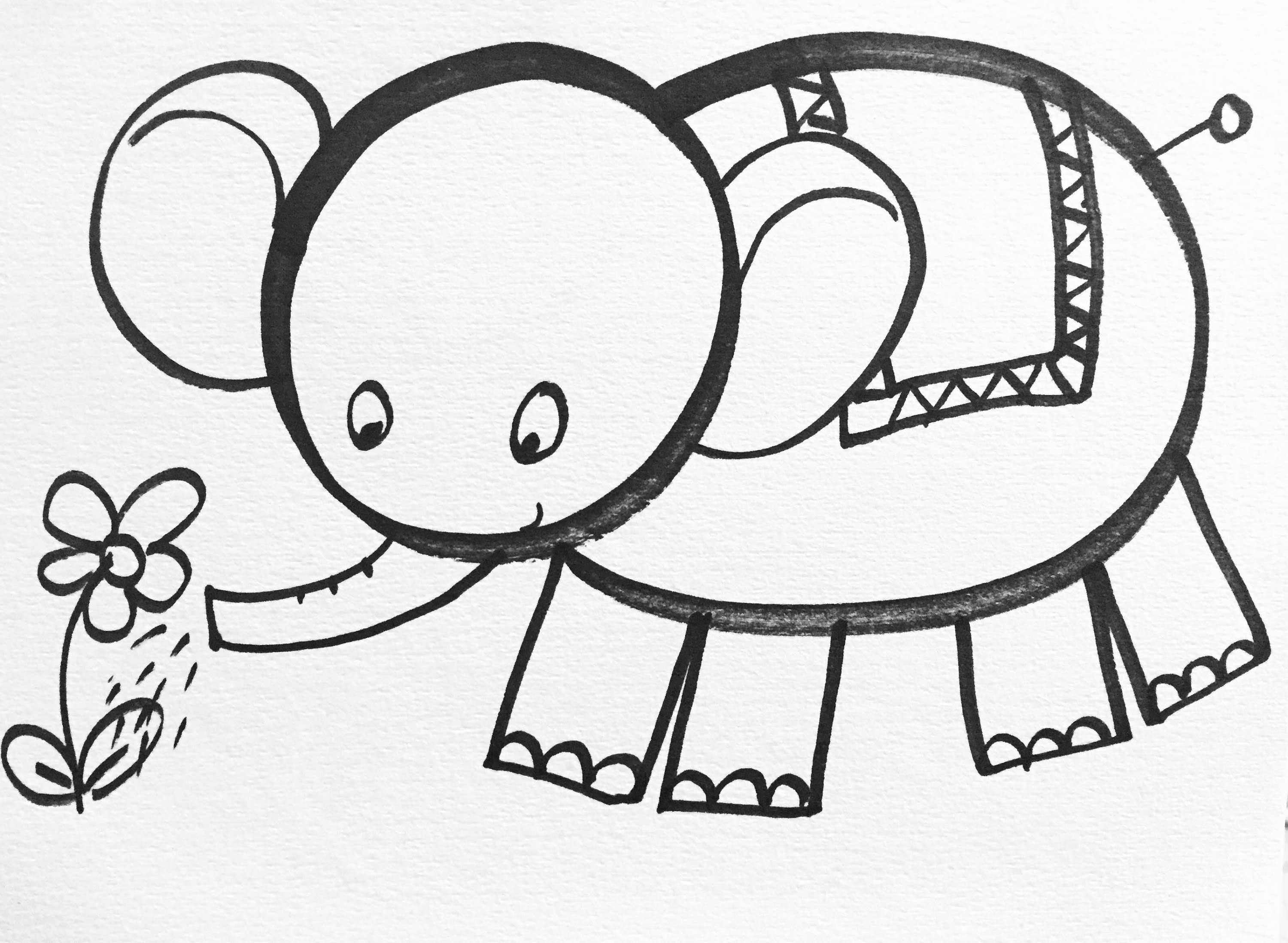 3000x2197 Tutorial] How To Draw Little Elephant For Kids