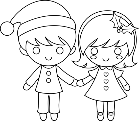 550x479 christmas kids line art