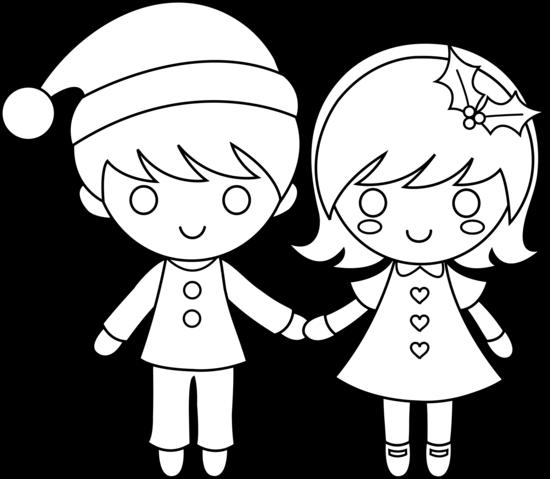 550x479 christmas kids line art
