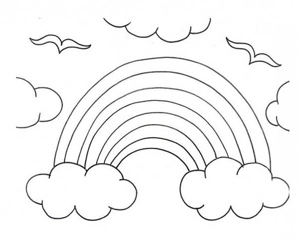 600x485 A Kids Drawing Of Rainbow Over The Clouds Coloring Page