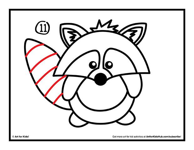 620x479 How To Draw A Raccoon (Cartoon)