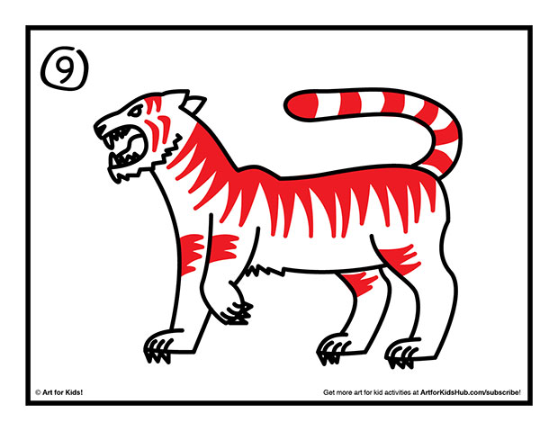 620x479 How To Draw A Tiger