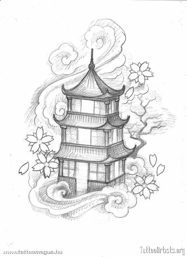 745x1024 Pagoda Drawing Chinese Pagoda By ~asuka47