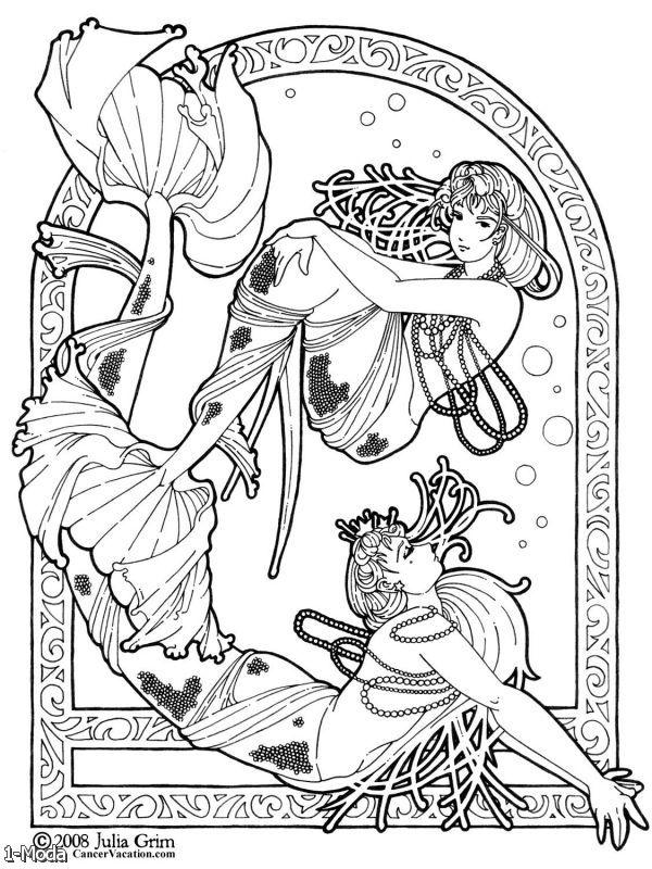 600x800 art nouveau mermaid coloring page art deco coloring pages