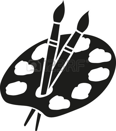 398x450 Artist Palette With Two Brushes Royalty Free Cliparts, Vectors