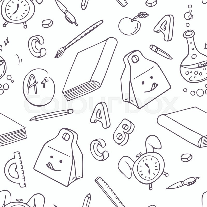 800x800 Back To School Doodle Objects. Hand Drawn School Supplies Seamless